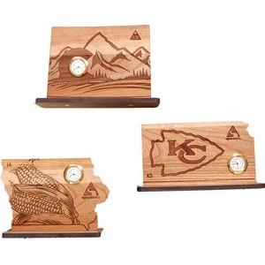 "6"" x 8"" - Engraved State Themed Hardwood Desktop Clocks - USA-Made"