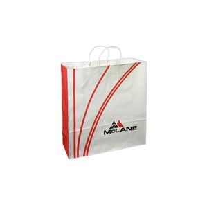"White Kraft Custom Paper Shopping Bags (16""x6""x19"")"