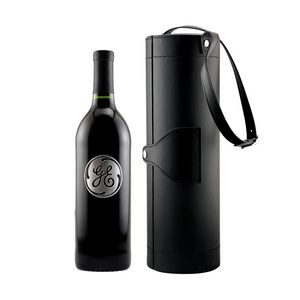 Cylinder Black Faux Leather Box with Custom Etched Wine with 1 Color Fill