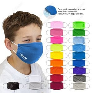 Kid's Pure Color stereo profile Moisture Wicking Face Mask with Filter Pocket