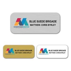 "1.25"" x 3"" Aluminum Name Badge w/Full Color Imprint & Personalization"